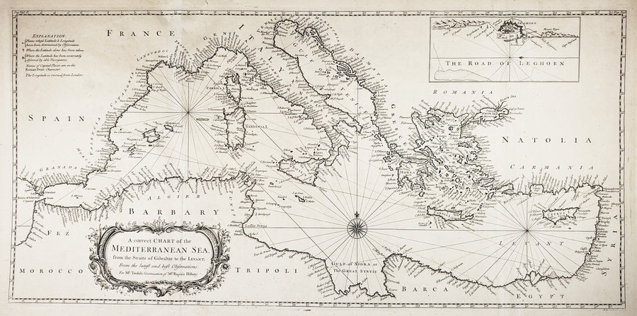 A Correct Chart the Mediterranean Sea, from the Straits of Gibraltar to the Levant; From the latest and best Observations: For Mr. Tindal's Continuation of Mr. Rapin's History. by: Seal, 1745