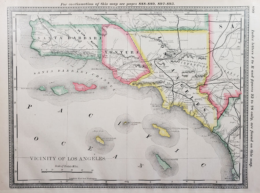 1887 Vicinity of Los Angeles By: Rand McNally & Co. 1884 | Antique Map