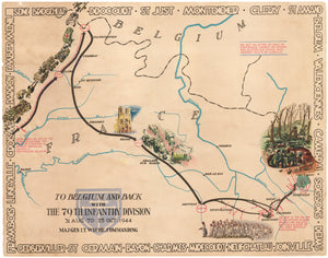 WWII Pictorial Map - To Belgium and Back with the 79th Infantry Division 31 Aug to 25 Oct, 1944