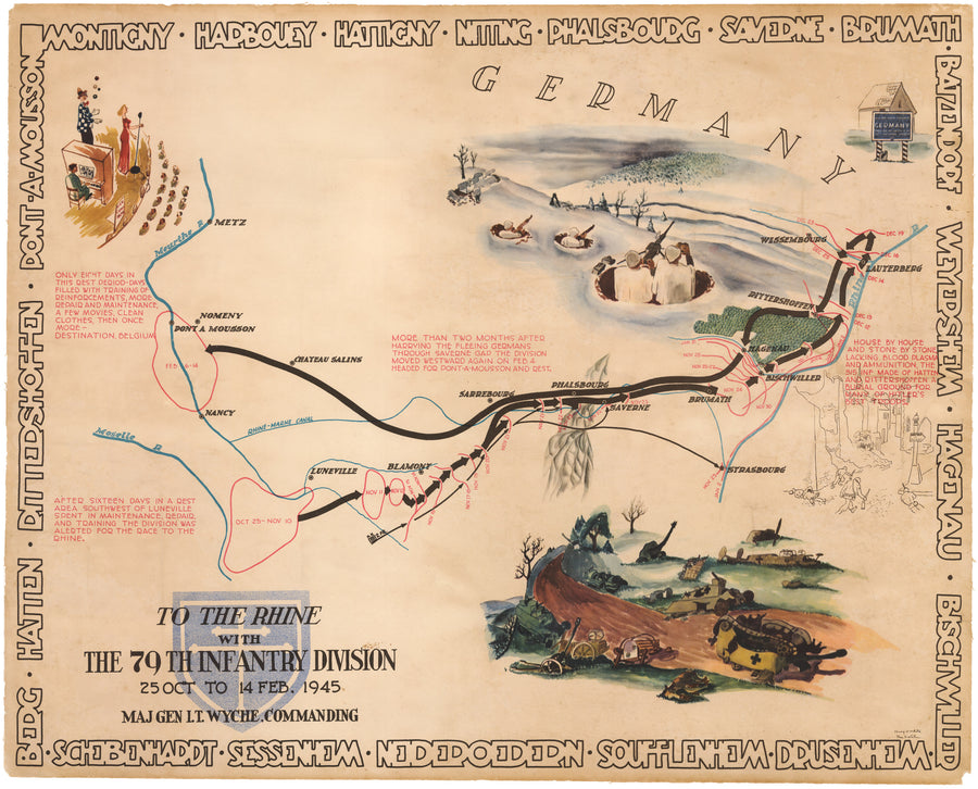 WWII Pictorial Map - To the Rhine with the 79th Infantry Division 25 Oct to 14 Feb, 1945