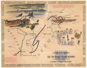 WWII Pictorial Map - Over the Rhine with the 79th Infantry Division 17 Feb to 9 May, 1945