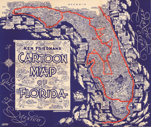 1938 Kenneth Friedman's Cartoon Map of Florida