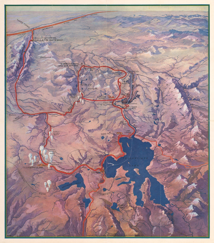 Yellowstone National Park Picture Map | Gallatin Gateway, 1928