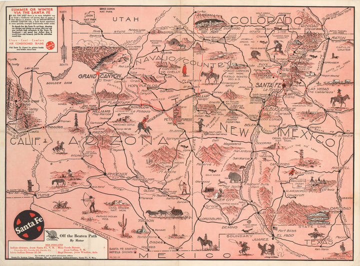 Antique Pictorial Map | Off the Beaten Path by: Broome, 1935
