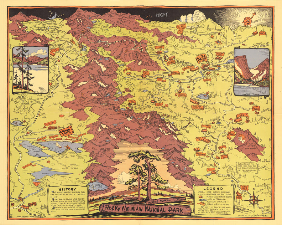 Vintage Pictorial Map of Rocky Mountain National Park By: Richardson Rome Date: 1948