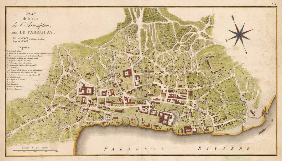 Antique Map : Plan de la Ville de l'Assomption, dans Le Paraguay by: Azara, 1809