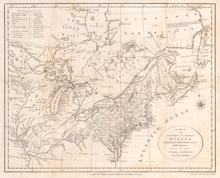 Antique Map of the Northern and Middle States By: John Stockdale & Jedidiah Morse Date: 1792