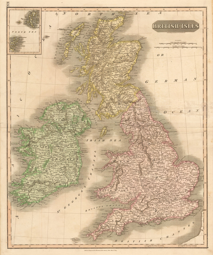 Antique Map of the British Isles by: John Thomson, 1815