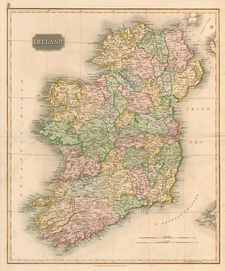 Antique Map of Ireland by: John Thomson, 1815