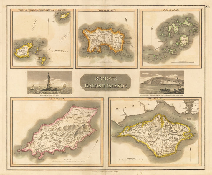 Antique Map of Remote British Islands - Map of Channel Islands, Scilly, Jersey, Isle of Mann Isle of Wight by: Thomson, 1817