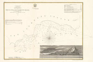 Antique Map of San Clemente Island, California. by: U.S. Coast Survey, 1856