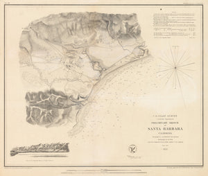 Sketch of Santa Barbara, California by U.S. Coast Survey, 1853
