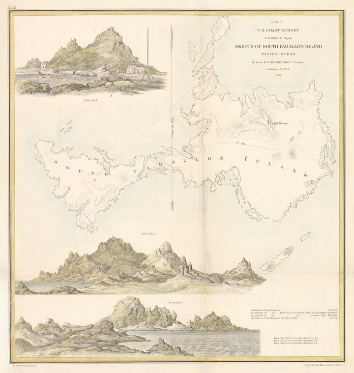Sketch of South Farallon Island by: U.S. Coast Survey, 1855