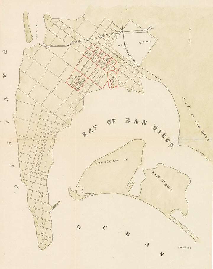 Map of San Diego and the Bay by the War Department, 1892