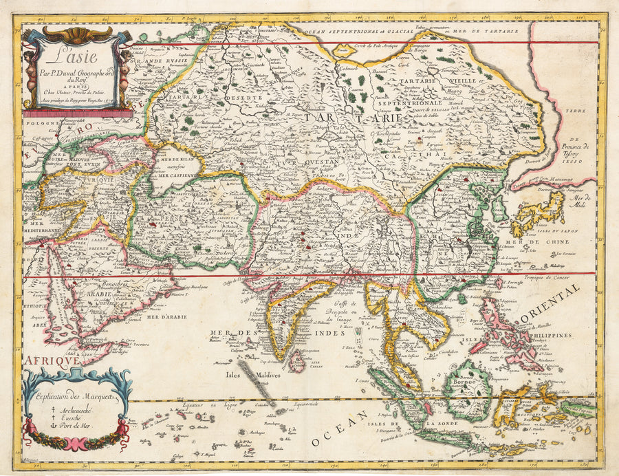 L'asie by: Pierre Du Val, 1664 | Rare First State antique map