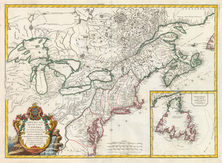 Carte Des Pays connus sous le nom de Canada... by: Vaugondy, 1755 | This rare and important map by Robert de Vaugondy, royal geographer to France's Louis XV, depicts British and French Colonies throughout the Great Lakes and Eastern Seaboard of North America at the onset of the French and Indian War.