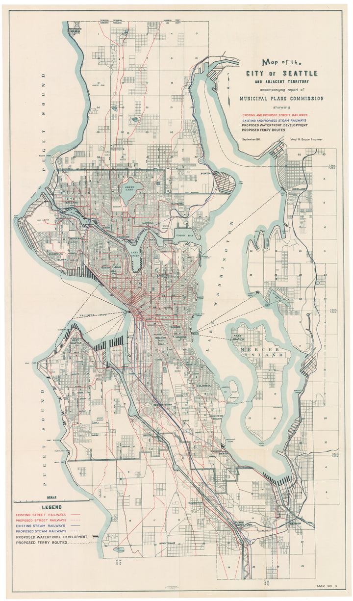 Map of the City of Seattle and Adjacent Territory... by: Tucker Handford Co., 1911