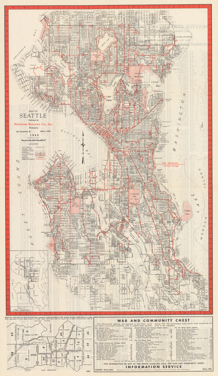 Seattle Map and City Guide by: Newman-Burrows Co, 1945
