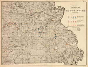 1873 Geological Survey of Missouri Preliminary Map Showing the Distribution of Iron Ores in Missouri