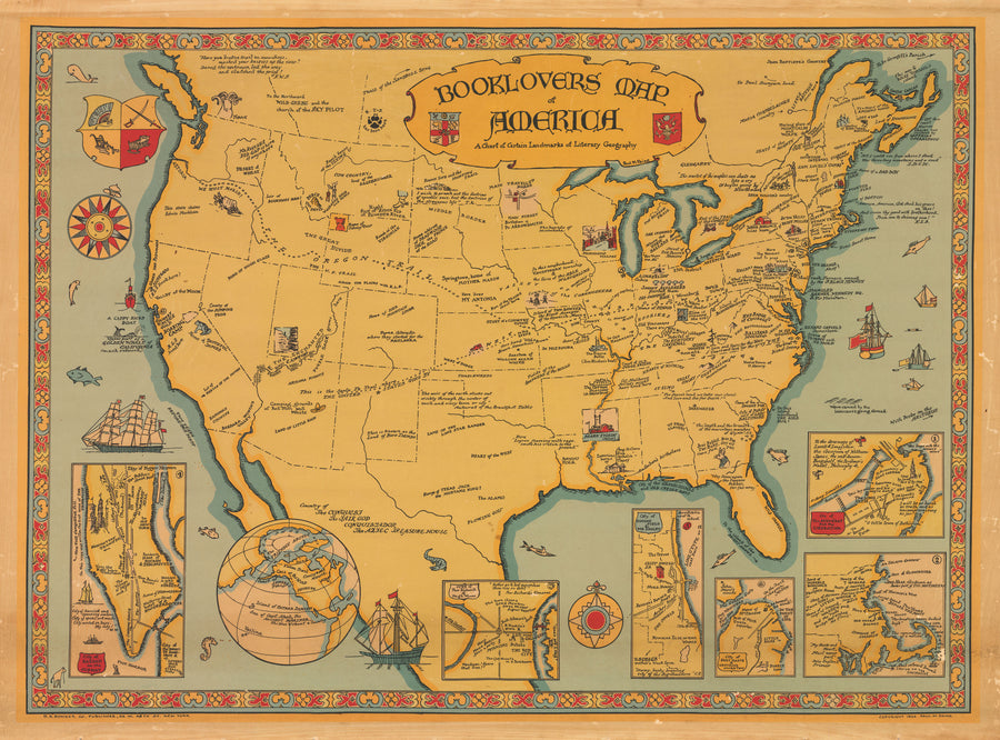 Booklovers Map of America By: Paul M. Paine, 1926