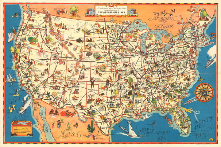 A good-natured map of the United States setting forth the services of The Greyhound Lines and a few principal connecting bus lines  By: Greyhound Lines  Date: 1934