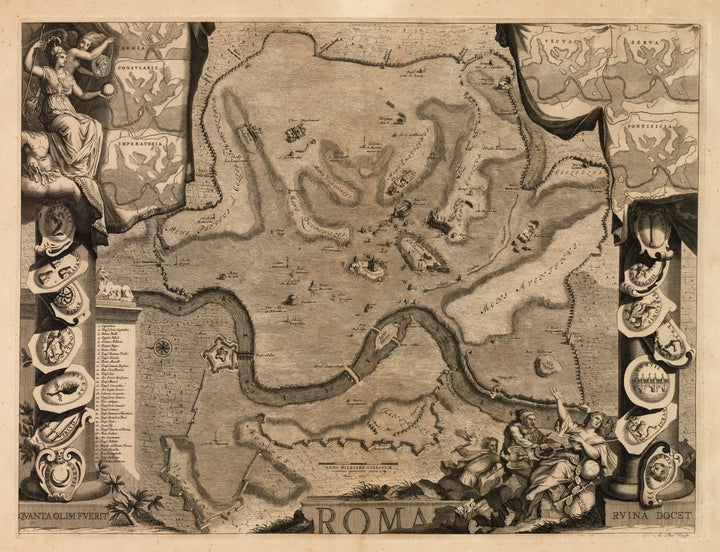 Antique Map of Rome and its ruins by: M. Pool 1700