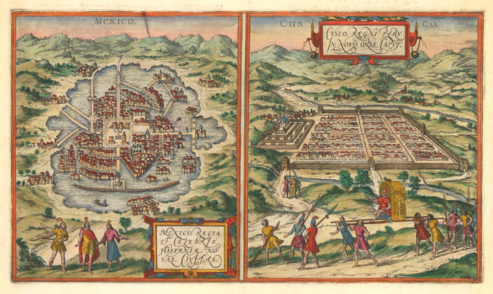 Mexico Regia et Celebris Hispaniae Novae Civitas | Cusco, Regni Peru in Novo Orbe By: Georg Braun & Frans Hogenberg,1572 A  pair of views of Tenochititlan and Cusco, the Capital cities of the Aztec and Inca Empires.