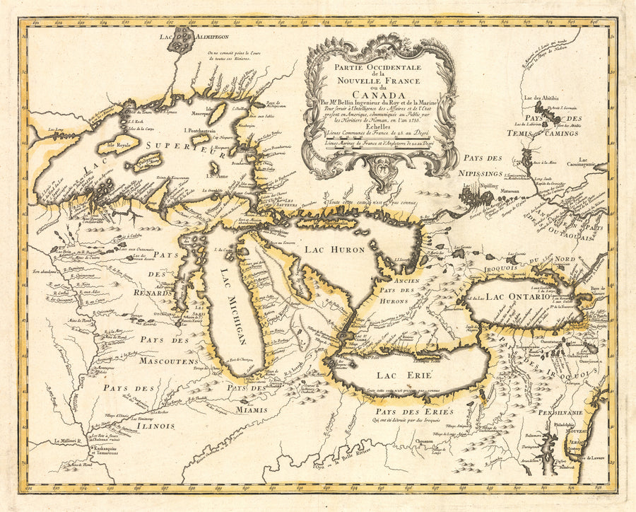 Partie Occidentale de la Nouvelle France ou du Canada... By: Bellin / Homann Date:1755 A landmark map of the Great Lakes that introduced more accurate geography of the region than all other preceding maps