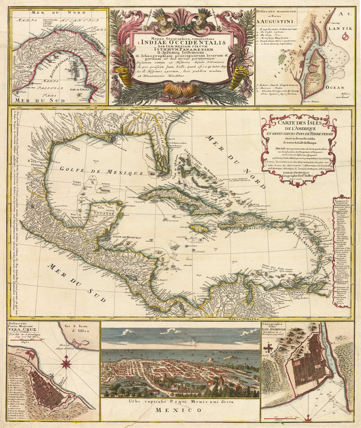 Mappa Geographica, complectens I. Indiae Occidentalem II. Isthmum Panamensem III... By: Homann Heirs, Date: 1740 | An authentic antique map of the Caribbean by Homann Heirs with several smaller inserts of important regions and cities including Vera Cruz, and Mexico City.