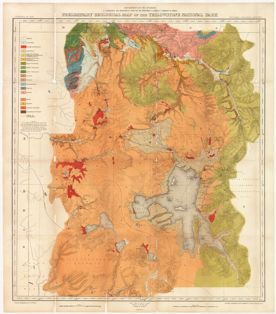 Preliminary Geological Map of the Yellowstone National Park by: Hayden, 1878