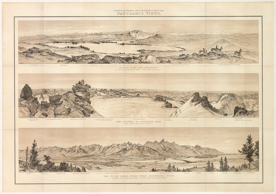 Panoramic Views: Wind River Mountains and Teton Range, Wyoming by: Hayden, 1878