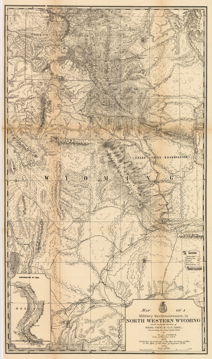 Early map of Northwestern Wyoming including Yellowstone Park by: Jones, 1874