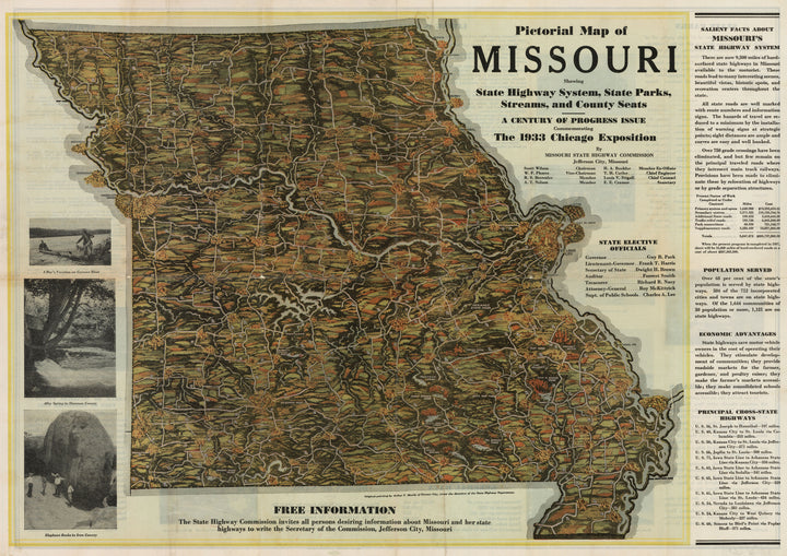 Pictorial Map of Missouri Showing State Highway System, State Parks, Streams, and County Seats | A Century of Progress Issue Commemorating The 1933 Chicago Exposition