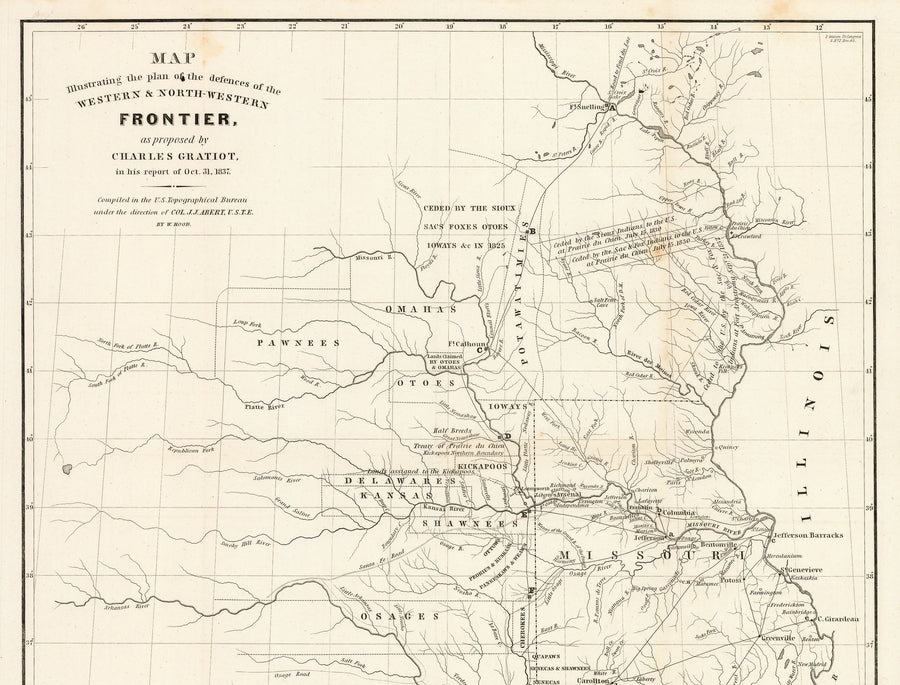Map illustrating the plan of the defences of the Western & North-Western Frontier, as proposed by Charles Gratiot in his report of Dec. 30, 1837.