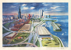 Chicago Bird's Eye View Print of Watercolor by: Kay Smith 1984