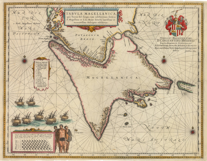 Antique Map Tabula Magellanica, qua Tierrae del fuego... by: Blaeu,1640  - Strait of Magellan