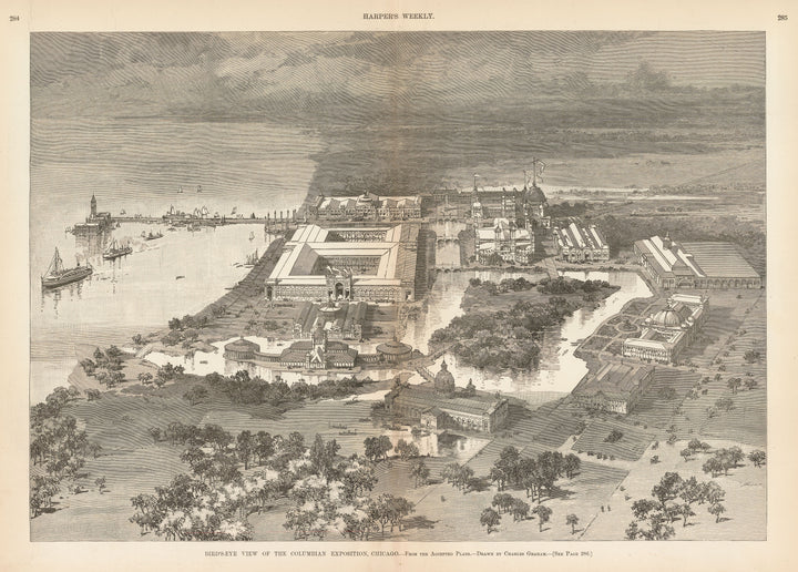 Bird's-Eye View of the Columbian Exposition, Chicago by: Charles Graham for Harper's Weekly