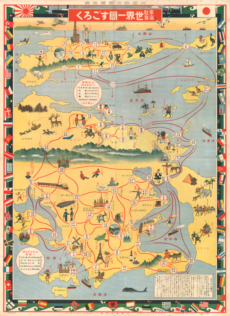 Family learning - Around the World Sugoroku Game and Map, 1926