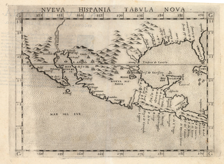 Old Map of Mexico | Nueva Hispana Tabula Nova by: Ruscelli, 1574