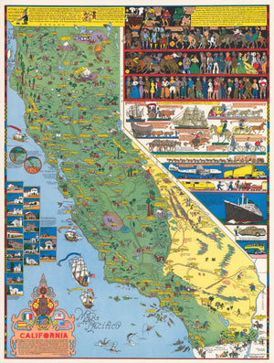 Pictorial Map of California by Jo Mora, 1945