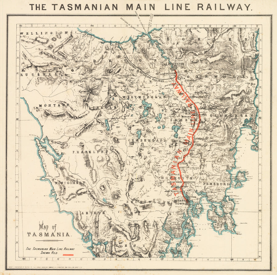 1890 Map of Tasmania - The Tasmanian Main Line Railway
