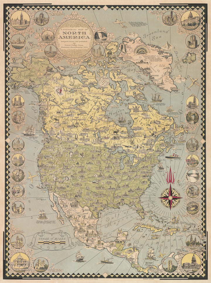 Pictorial Map of North America by: Ernest Dudley Chase, 1945