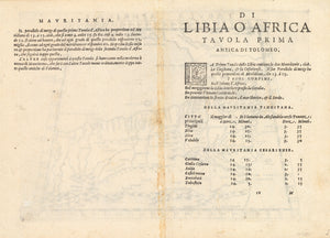 Antique Map of Morocco: Tabula Aphricae I by: Girolamo Ruscelli, 1574 VERSO