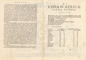Antique Map of Northern Africa : Tabula Africae II by: Girolamo Ruscelli, 1574 VERSO