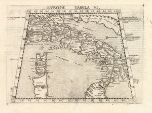Antique Map of Italy: Europae Tabula VI By: Girolamo Ruscelli, 1574