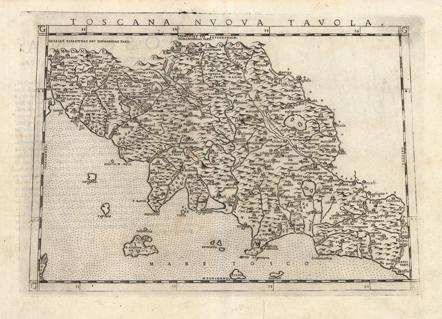 Antique Map of Tuscany, Italy: Toscana Nuova Tavola by: Girolamo Ruscelli, 1574