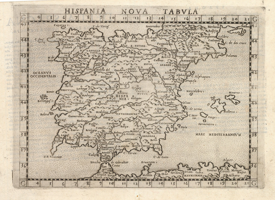Antique Map of Spain and Portugal: Hispania Nova Tabula by: Girolamo Ruscelli, 1574