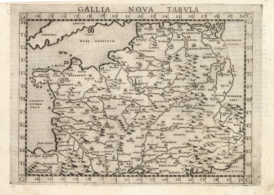 Antique Map of France: Gallia Nova Tabula by: Ruscelli / Ptolemy, 1574