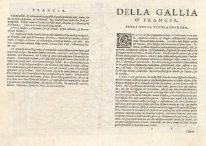 Antique Map of France: Gallia Nova Tabula by: Ruscelli / Ptolemy, 1574 | VERSO
