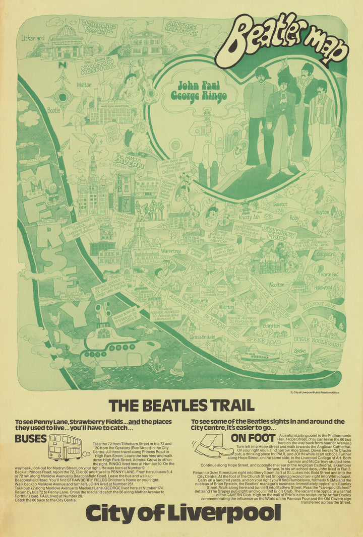 Vintage Pictorial Map: Beatles Map | The Beatles Trail | City of Liverpool, 1974
